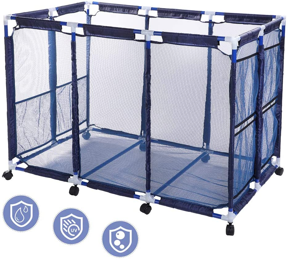 Snail Pool Mesh Storage Bin Rolling Poolside Storage Cart Container for Beach Balls, Floats, Swim Toys and Accessories Waterproof UV Resistant 48x30x34 Large Mesh Basket Organizer, Modern Blue