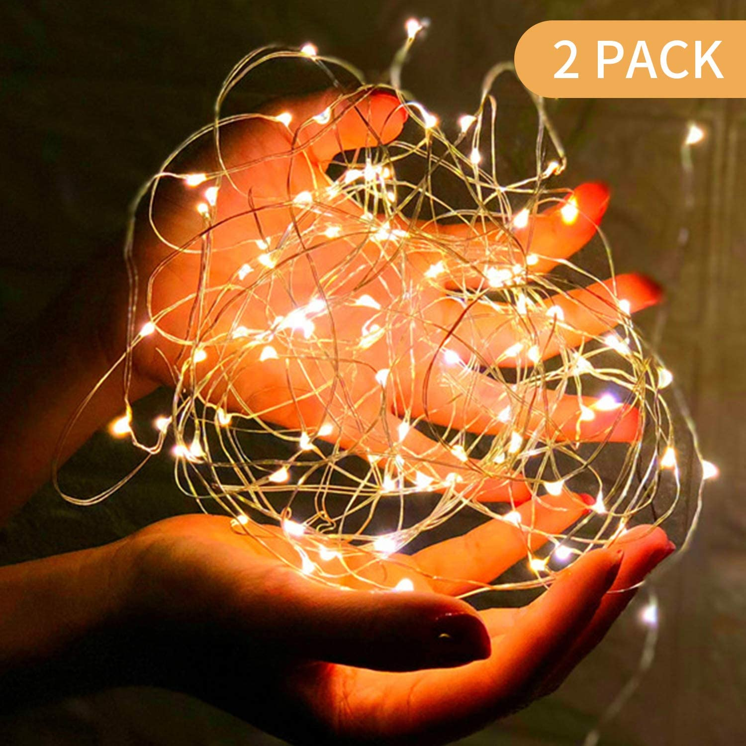 Fairy Battery String Lights, Great Value,Copper Wire,Battery opertated,for Bedroom, Christmas, Parties, Wedding, Centerpiece, Decoration(100 LED/33ft,Warm White)