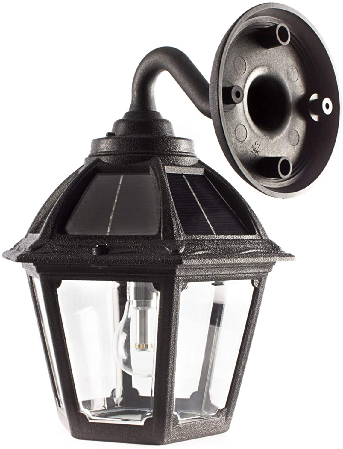 GAMA SONIC Polaris Solar Porch Wall Sconce Light, Outdoor LED Bulb Lamp, Black (177010)