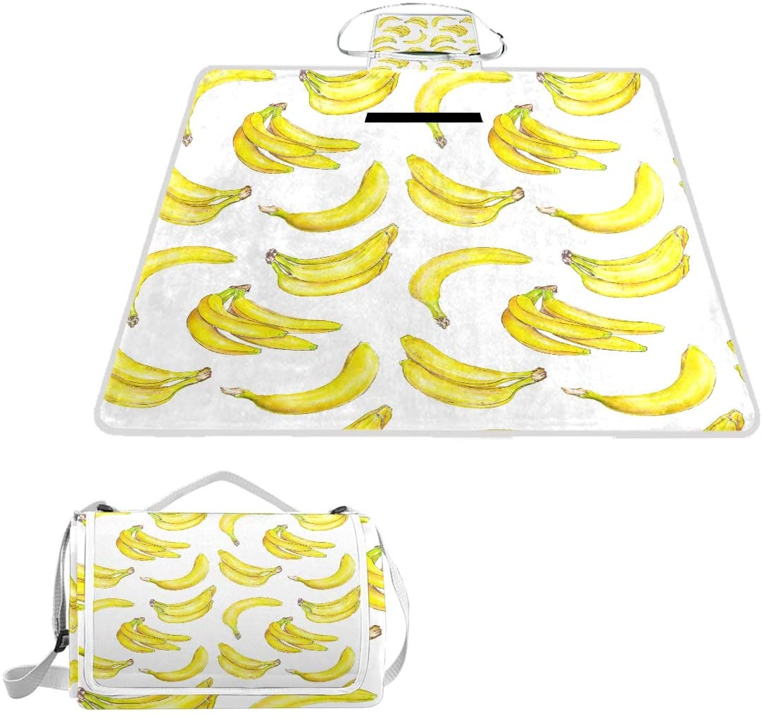 ALAZA Banana 57 X 59 inch Picnic & Outdoor Blanket Dual Layers for Outdoor Handy Mat Tote Spring Summer Great for The Beach,Camping on Grass