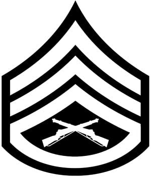 Military, USMC Rank, Staff Sergeant, Vinyl Car Decal, Multiple Colors, 10-by-10 inches