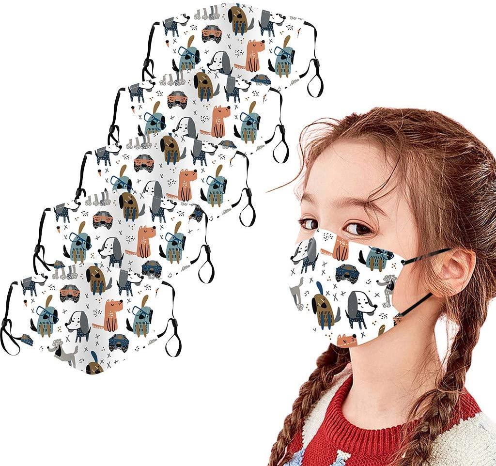 5PC Kids Face_Masks, Children Reusable Outdoor Ice Cotton Mouth Dustproof Face Bandana