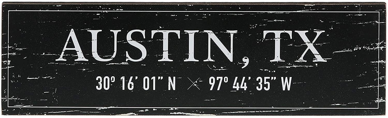 "Barnyard Designs Austin, TX City Sign Rustic Vintage Wood Wall Art Home Decor 17"" x 5"""