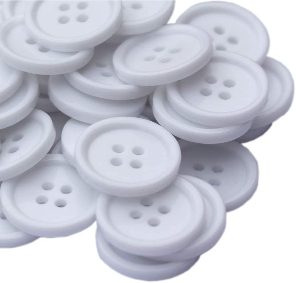 YaHoGa 150PCS 3/5 Inch (15mm) Buttons White Resin Buttons for DIY Sewing Tailor Crafts Coats Clothes (White 15MM)