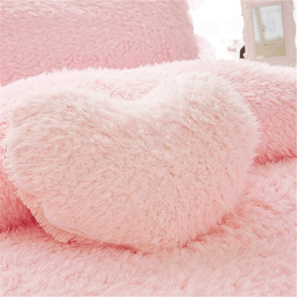 MooWoo Fluffy Heart Throw Pillow with Pillow Cover and Insert, Shaggy Faux Fur, Decorative Design for Indoor and Outdoor, (Pink, Heart Shape-15.7X15.7Inches)