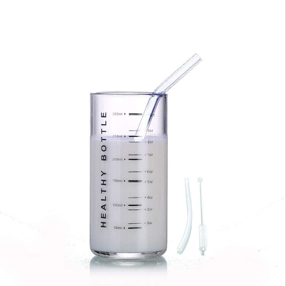 Lxuwbd-High borosilicate simple glass measuring cup, milk cup, coffee cup, wine cup, tea cup (Black word)