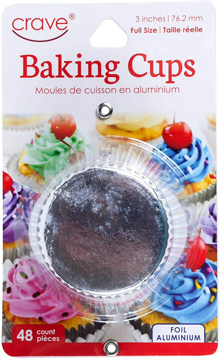 Jacent Crave 3 Inch Full Size Foil Baking Cups, 75 Count per Pack - 3 Pack