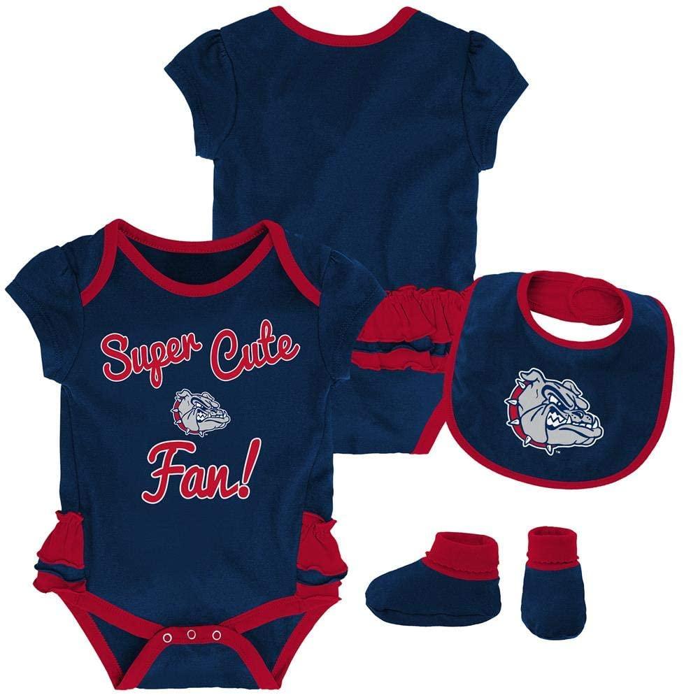 Outerstuff Gonzaga University Bulldogs Creeper, Bib and Bootie Set Infant Set