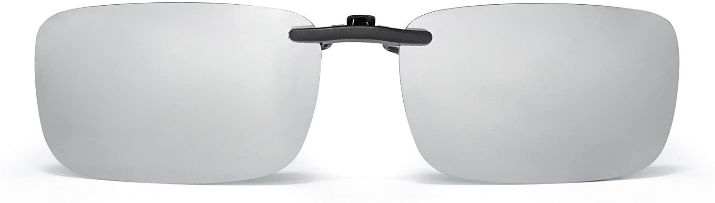 Rimless Rectangle Clip on Sunglasses Lightweight Polarized Eyeglasses Men Women