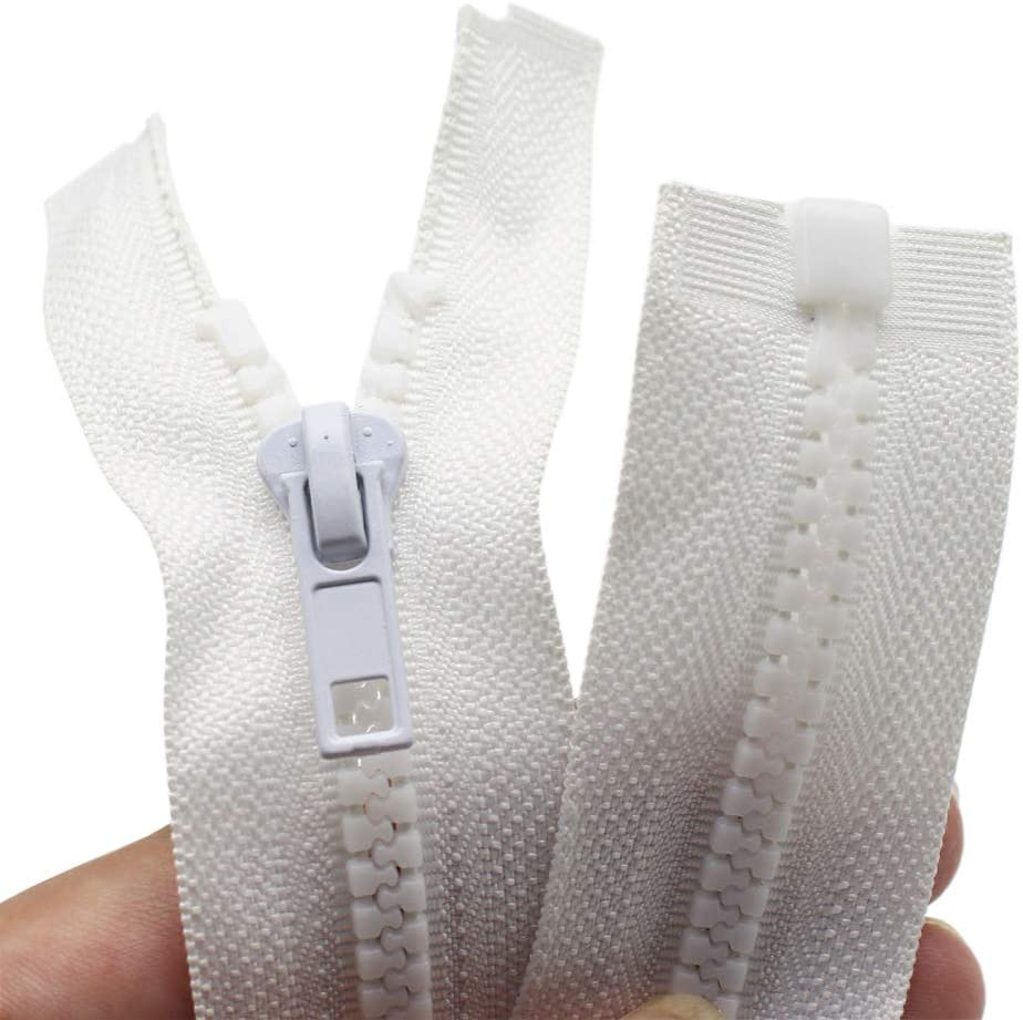 YaHoGa 2PCS 27 Inch #5 Separating Jacket Zippers for Sewing Coats Jacket Zipper White Molded Plastic Zippers Bulk (27