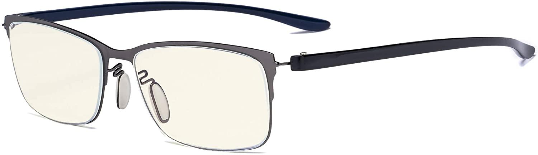 Eyekepper Computer Glasses - Blue Light Filter Readers - UV420 Protection Semi-Rim Reading Glasses Women - Gunmetal Frame +2.50