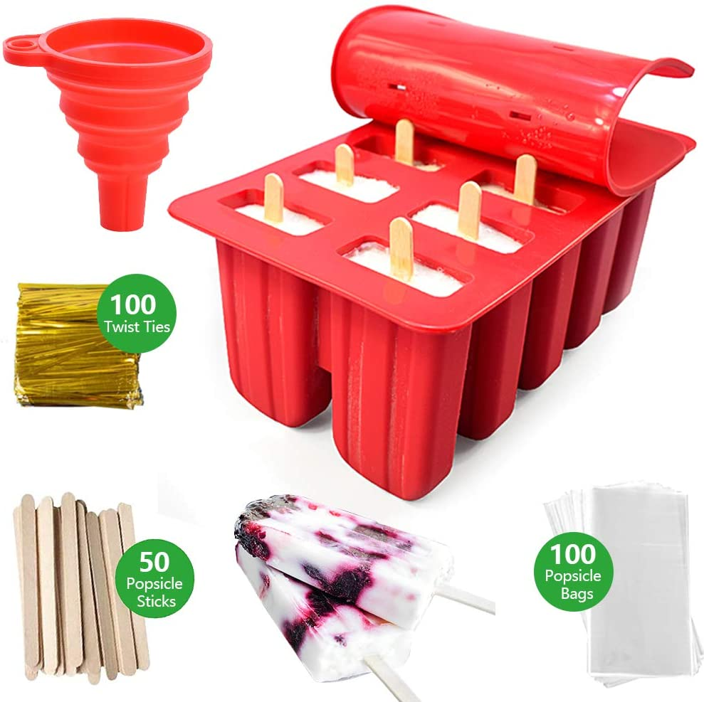 Popsicle Molds 10-Cavity Silicone Popsicle Maker with 50 Popsicle Sticks, 100 Popsicle Bags and 100 Twist Ties