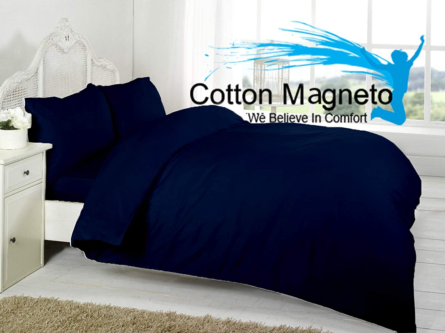 Cotton Magneto Duvet Cover Set 1000-TC Super Soft Luxury Crafted 100% Organic Cotton 3-PC Navy Blue Solid Queen Size 88x88 inch,Duvet Cover with Button Closer & 2pcs Pillow Covers