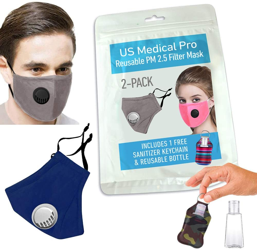 2+1 Pack Face mask Cover with 2 PM 2.5 filter (Includes Resuable Keychain Bottle), Washable mask, Reusable. Anti dust, Cloth face mask with filter… (Blue/Gray)