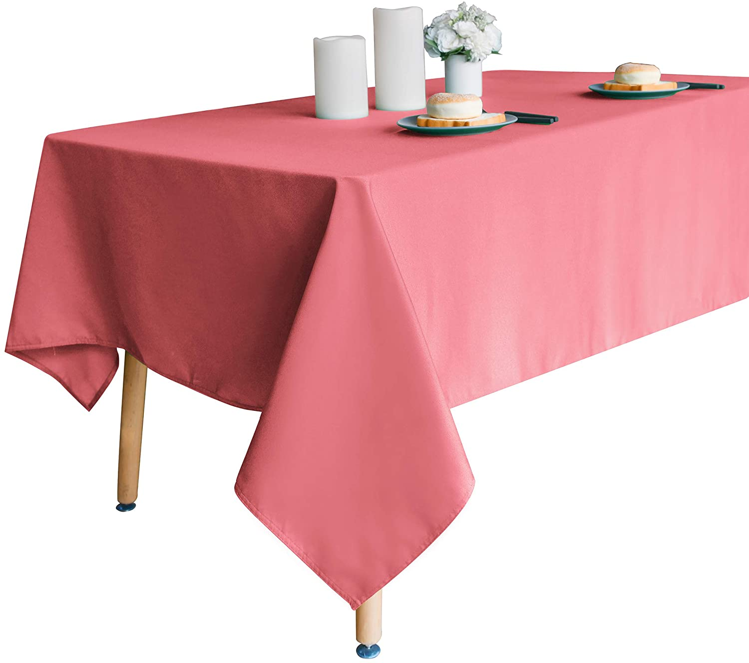 Obstal 210GSM Rectangle Table Cloth, Water Resistance Microfiber Tablecloth, Decorative Fabric Table Cover for Outdoor and Indoor Use (Coral Red, 60 x 120 Inch)