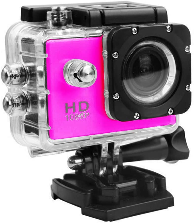 Sports Camera Waterproof 1080p WiFi Sports Action Camera, Hd Waterproof Dv Camcorder, 140 Degree Wide Angle (Pink)