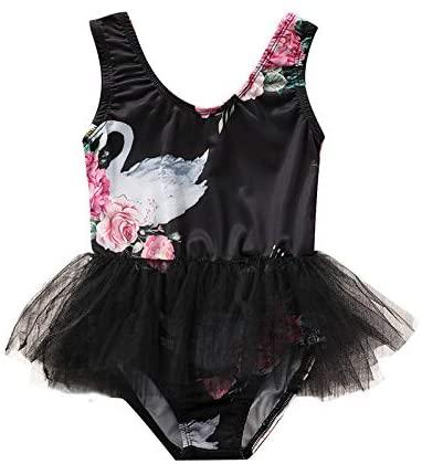 6M-4Y Toddler Baby Girl Black Swimsuit Cute Swan One Piece Swimwear Lace Tutu Bathing Suit Bikini