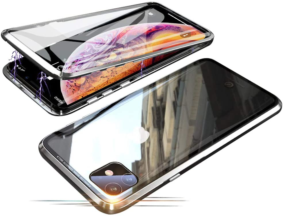 Compatible with iPhone 11 (6.1 inch) Case, Jonwelsy 360 Degree Front and Back Transparent Tempered Glass Cover, Strong Magnetic Adsorption Technology Metal Bumper for iPhone 11 (Silver)