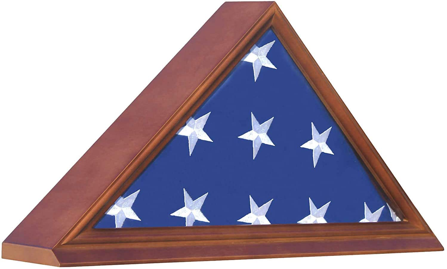 Solid Wood Elegant Flag Display Case Holder Stand for a 5 x 9.5' Funeral/Veteran Flag Folded, Walnut Finish