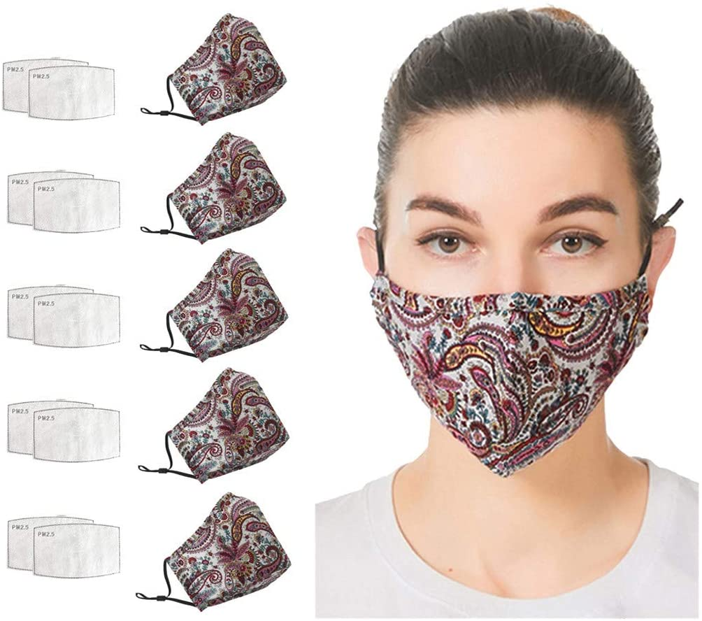 Reusable Washable Easy to Breathe Cotton 5PC Face Shields 10PC Filter mat,Adult Protection Dust Proof Face Shields【USA in Stock Fast Delivery】 (E)