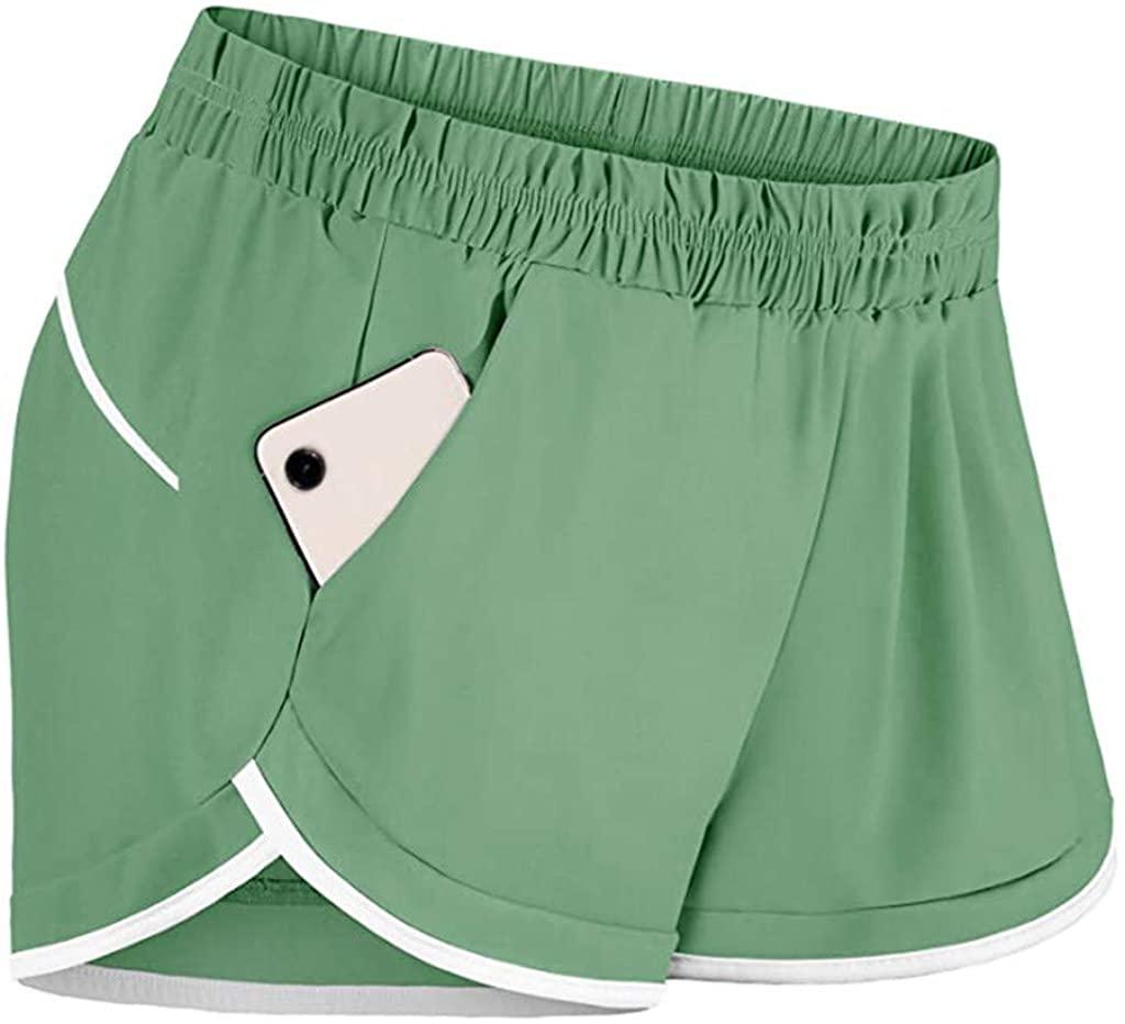 Fastbot womens Workout Shorts Yoga Leggings High Waist Tummy Control Shorts Running Biker Gym Hot Pant with Pockets