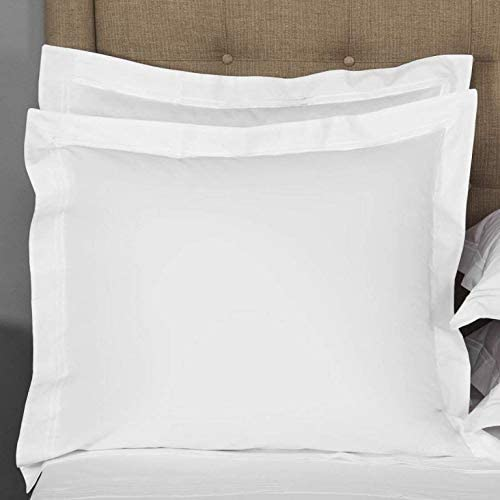 Pillow Shams Set of 2 Envelope Closer 625 Thread Count Egyptian Cotton RV Size Fade Resistant, Hypoallergenic Soft & Breathable, White Solid (Euro (26 x 26 Inches), White Solid)