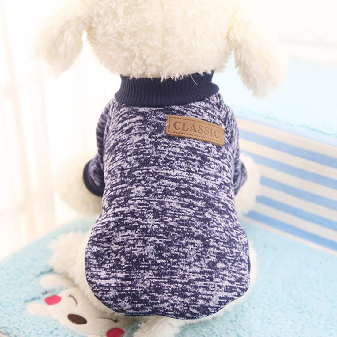 Idepet Pet Dog Classic Knitwear Sweater Fleece Coat Soft Thickening Warm Pup Dogs Shirt Winter Pet Dog Cat Clothes Soft Puppy Customes Clothing for Small Dogs (Read The Size Chart First)