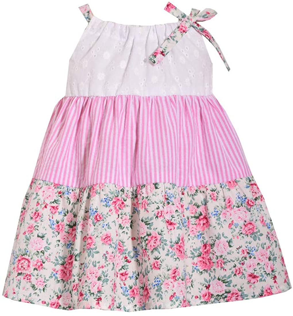 Bonnie Jean Girl's Sundress - Pink and Floral Eyelet for Toddler and Little Girls