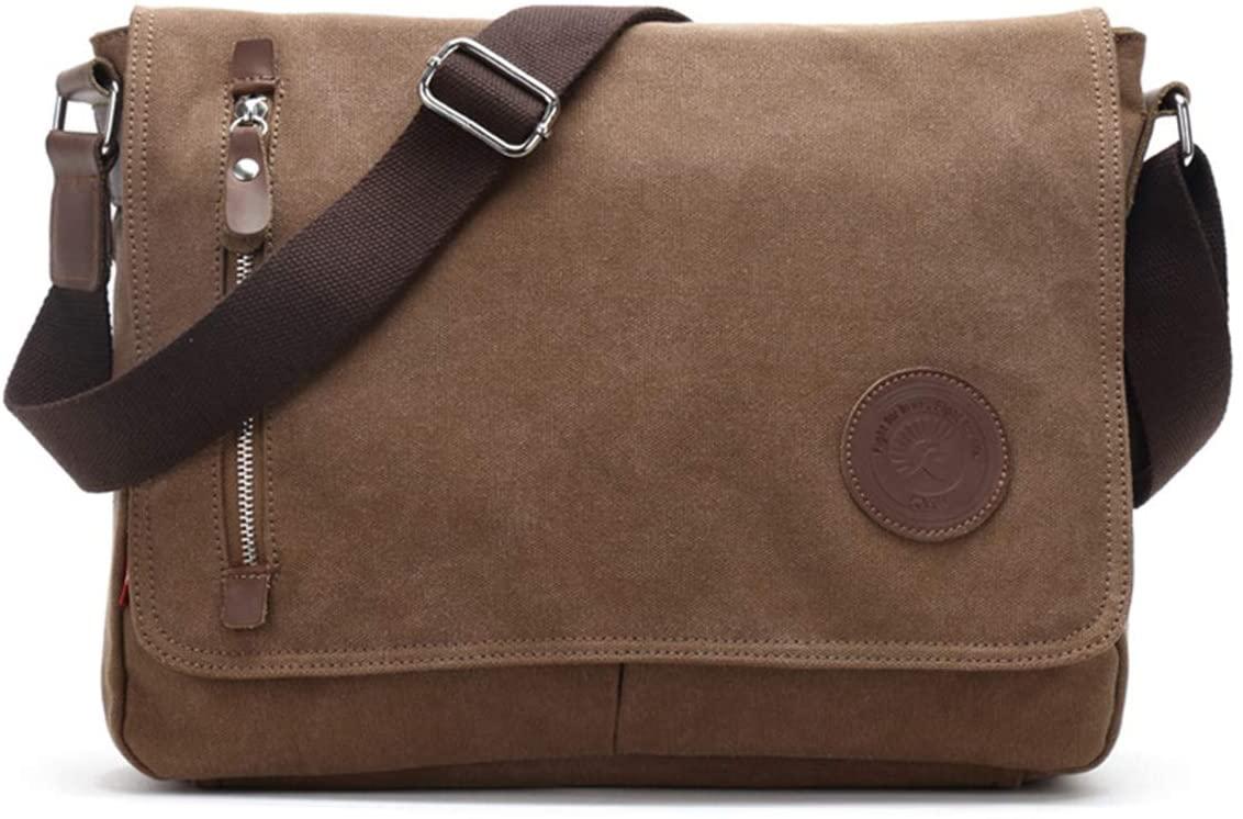Men's Canvas Messenger Bag Laptop Shoulder Satchel Crossbody School Bag (Brown)