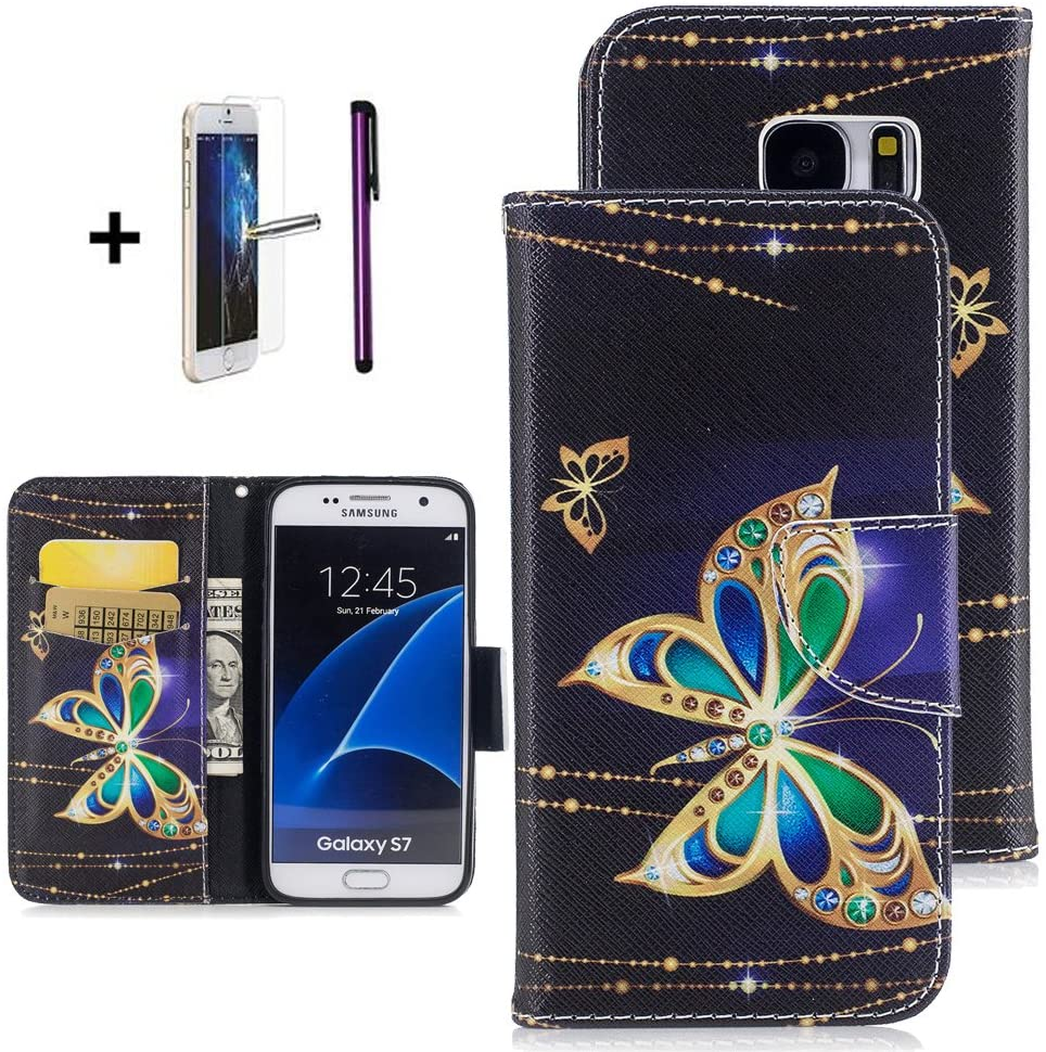 Galaxy S7 Samsung Galaxy S7 case ISADENSER Wallet Case with Card/Cash Slots [Kickstand] PU Leather Folio Flip Protective Case Cover for Samsung Galaxy S7 Ink Butterfly