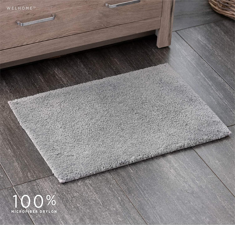 Welhome 100% Microfiber Drylon Non Slip Bath Rug - Latex Backing - Ultra Absorbent - Quick Dry - Soft - Durable - Hotel Spa Bathroom Collection -17x 24 -Gray