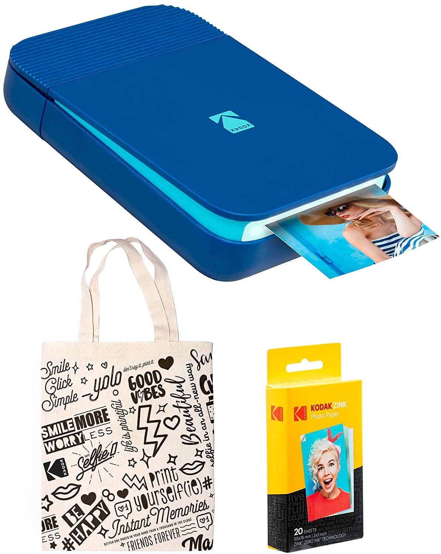KODAK Smile Instant Digital Printer (Blue) Tote Bag Bundle