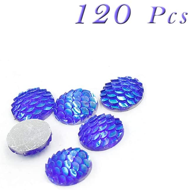 Sparkly Mermaid Scales Cabochons Resin Shining Fish Skin, Beads Arts Craft Jewelry Supply, Round Flat Back, 12mm, 120Pcs(Dark Blue)