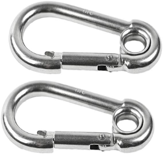 """MCH - 316 Stainless - Steel 2-3/8"""" Carabineers/Clip Snap Hook with Ring for Climbing, Fishing, Hiking (2pcs)"""