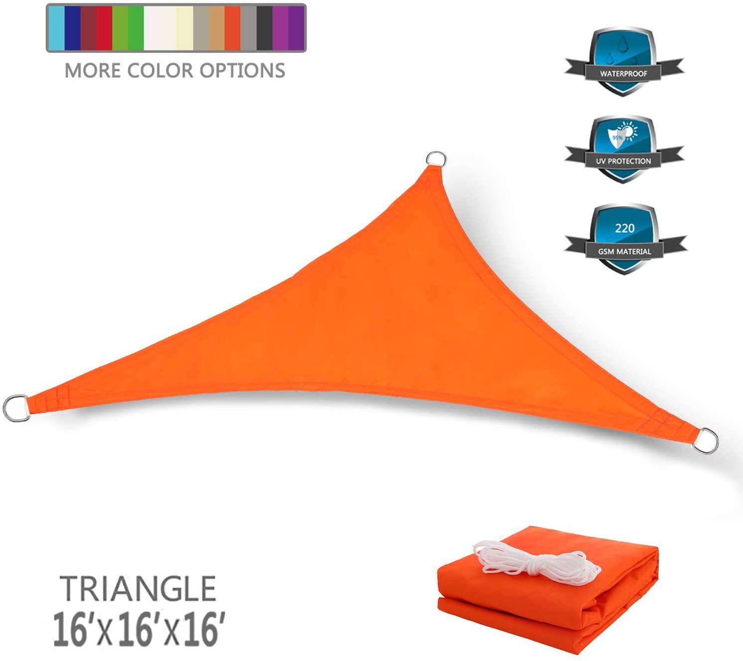 Tuosite Terylene Waterproof Sun Shade Sail UV Blocker Sunshade Patio Equilateral Triangle Knitted 220 GSM Block Fabric Pergola Carport Awning 16' x 16' x 16' in Color Orange