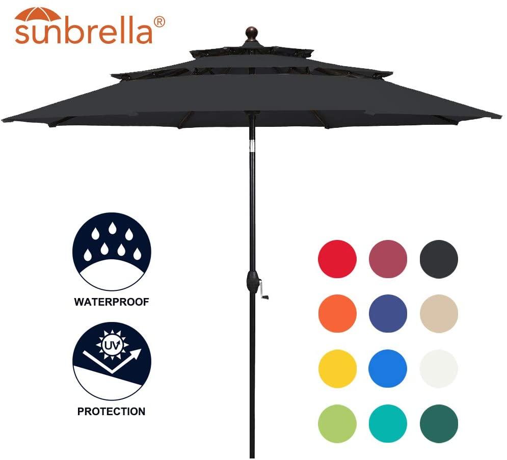 Balelinko 9 Feet 3 Layers Patio Sunbrella Umbrella Outdoor Market Table Umbrella with Auto Tilt and Crank, Canvas Black