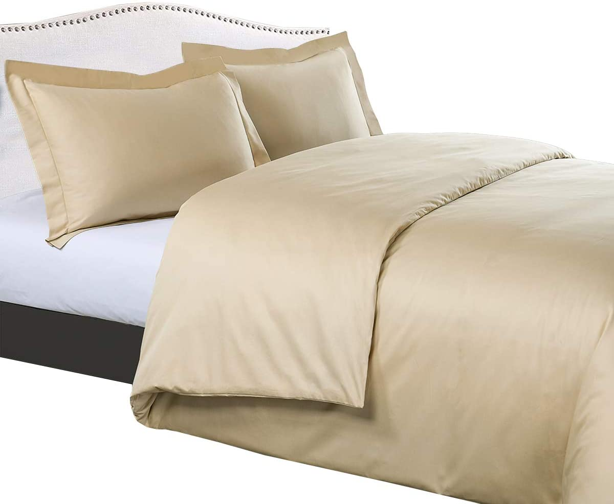 Royal Tradition Solid 300-Thread-Count, 100-Percent Cotton Full/Queen, 3PC Duvet Cover Set with Buttons Enclosure, Beige