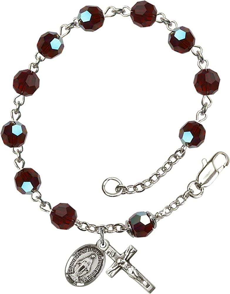 F A Dumont Sterling Silver Rosary Bracelet Features 6mm Garnet Austrian Tin Cut Aurora Borealis Beads. The Crucifix Measures 5/8 x 1/4.