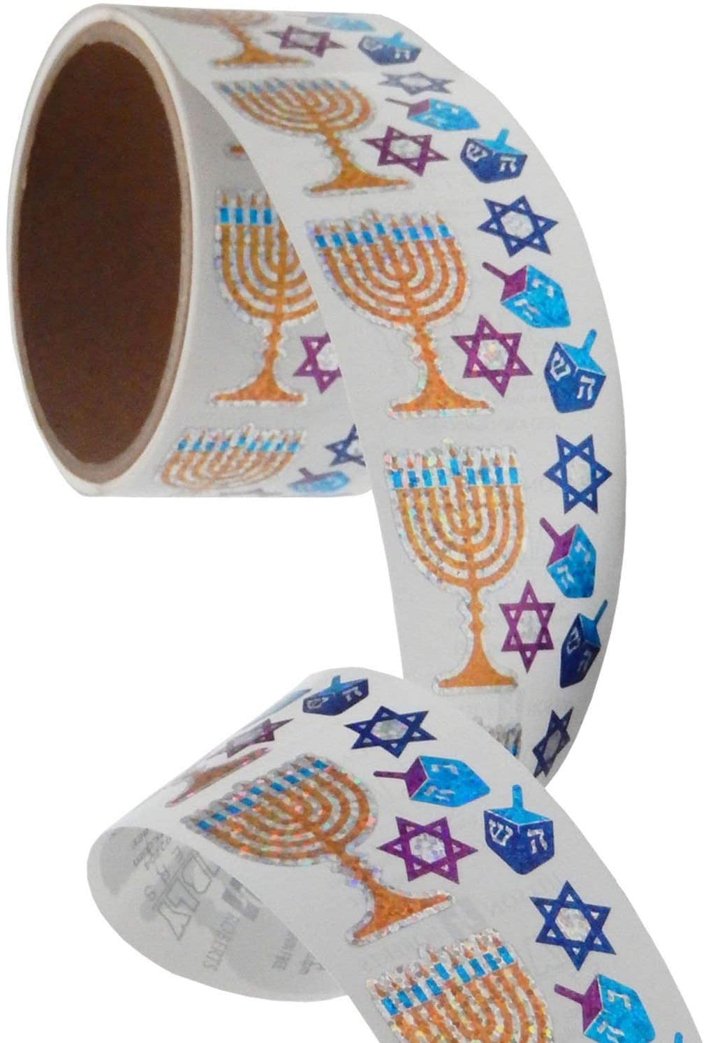Bulk Roll Prismatic Stickers, Mini Hanukkah Assortment (100 Repeats)