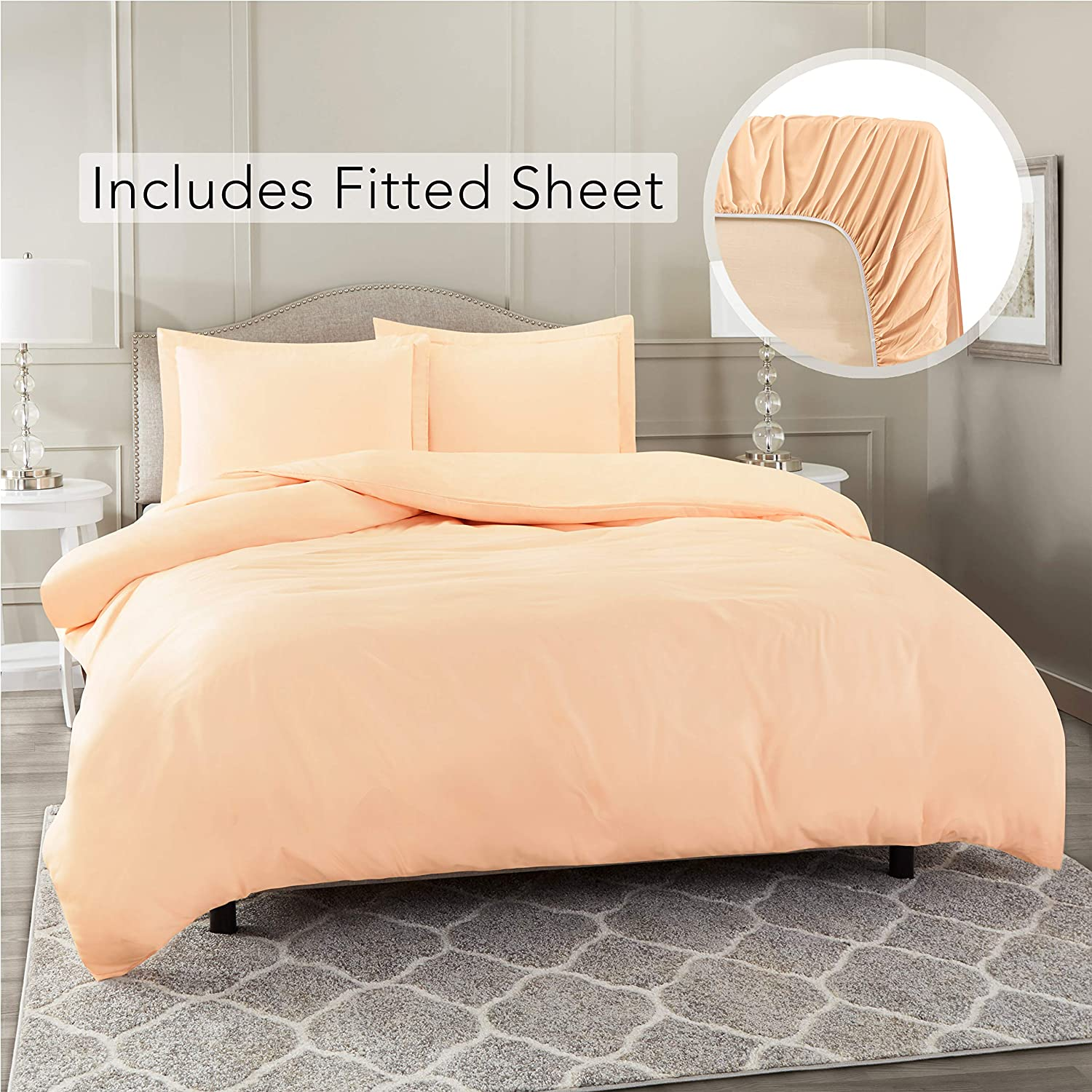 Nestl Bedding Duvet Cover with Fitted Sheet 3 Piece Set - Soft Double Brushed Microfiber Hotel Collection - Comforter Cover with Button Closure, Fitted Sheet, 1 Pillow Sham, Twin XL - Peach