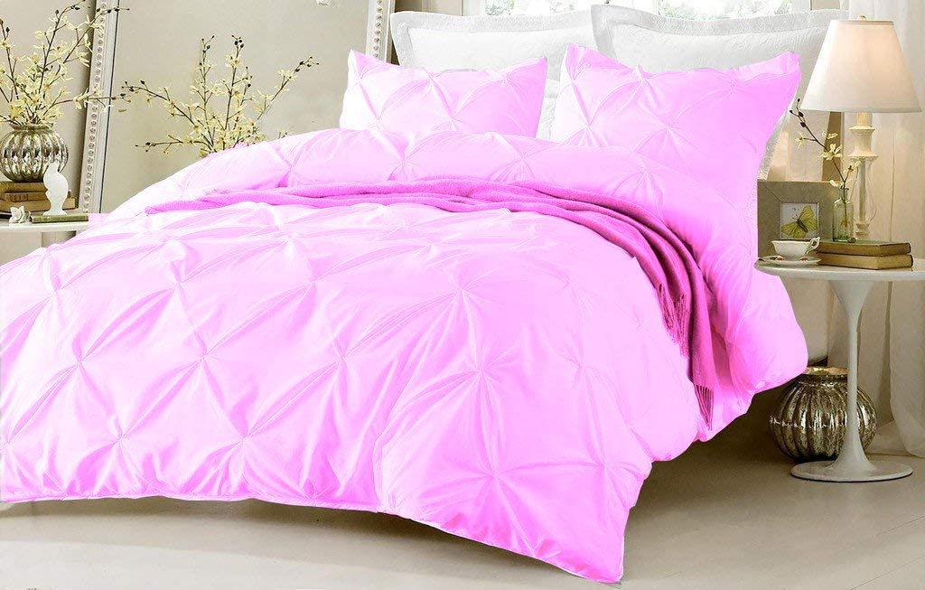 Natura Pura Premium 3 Piece Pinch Pleated Duvet Cover with Zipper Closure and Corner Ties 100% Egyptian Cotton Twin/Twin XL 68