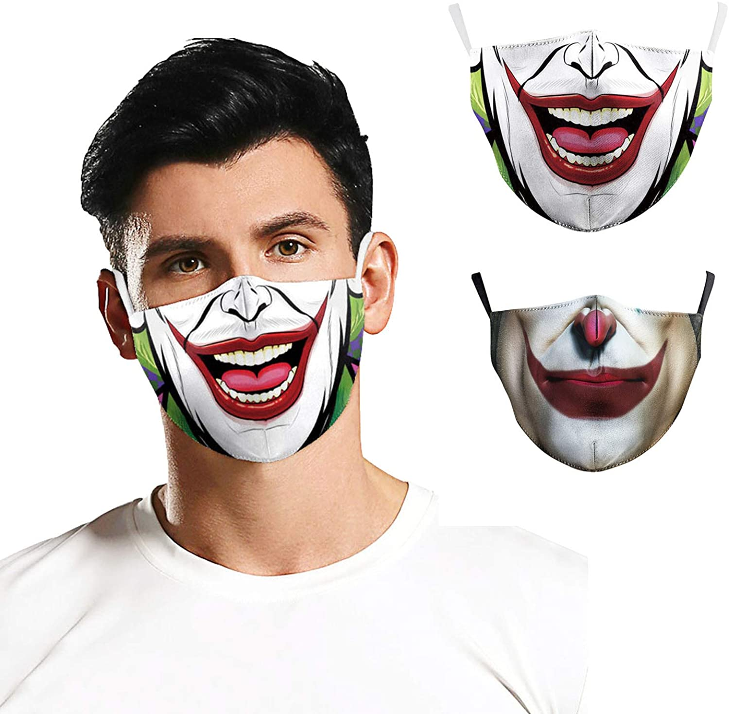 ZFCGEE Unisex 3D Prints Cotton Face Bandanas Reusable, Funny Halloween Adjustable Ear Loops Face Covering Party Accessories