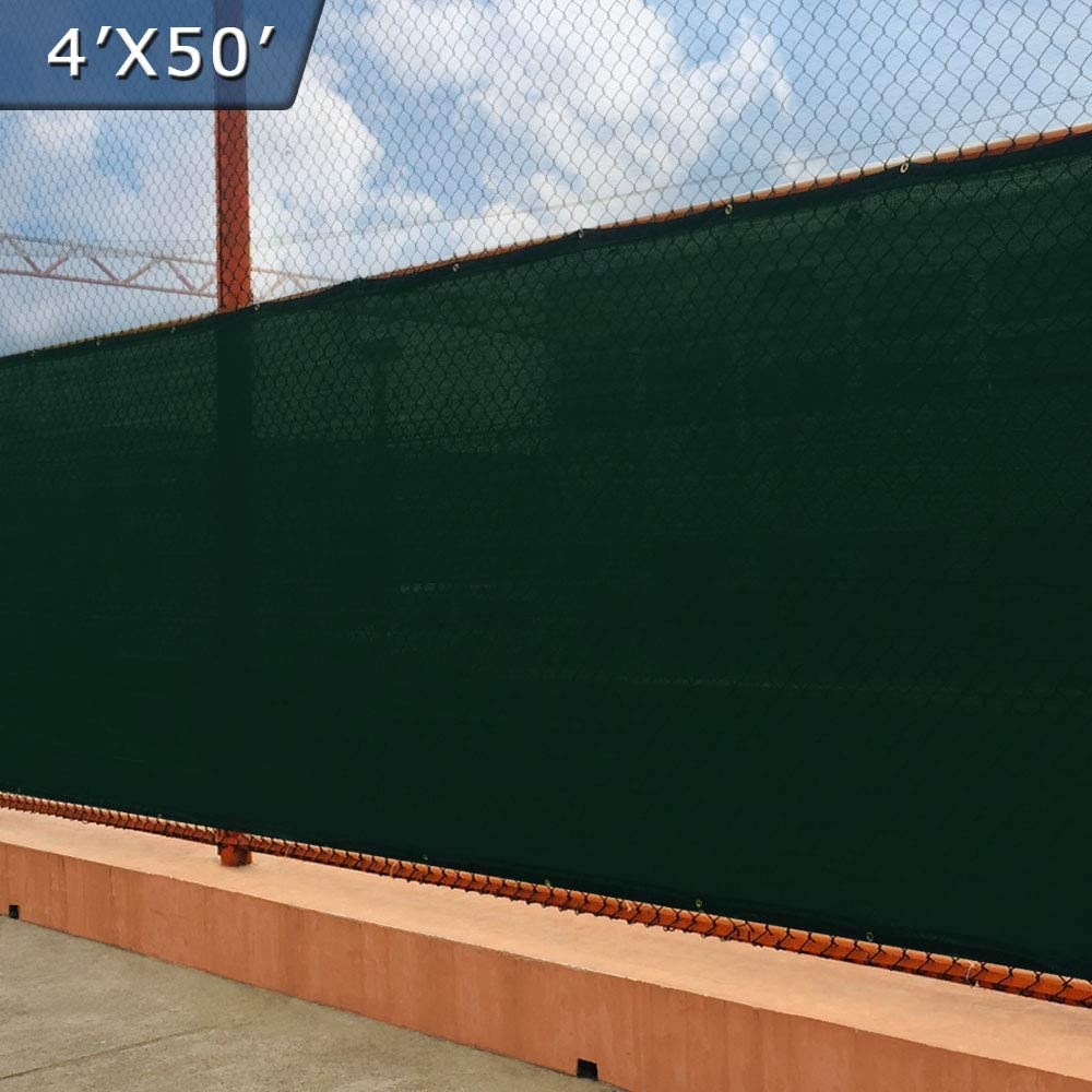 UPGRADE Fence Privacy Screen 4' x 50' Fence Shade Cover with Brass Grommets Heavy Duty Pefect for Outdoor Back Yard - Dark Green