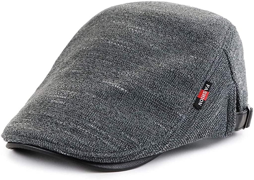Mongous Men Knit Newsboy Cap Warm Lined Hat Vintage Warm Beret in Cold Weather