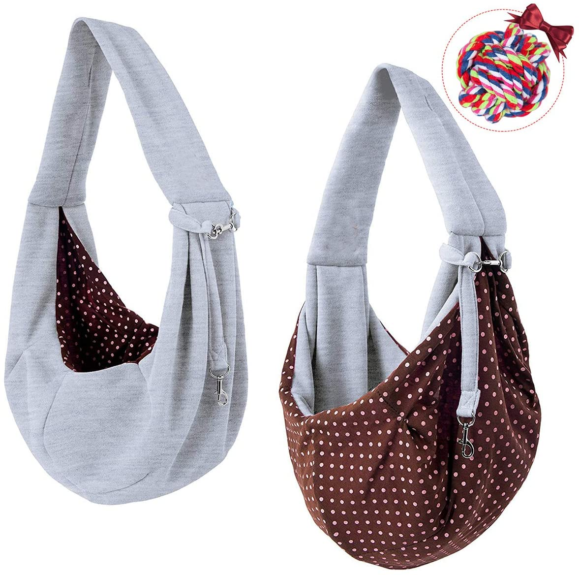 Tumenque Dog Cat Sling Carrier-Hands Free Reversible Pet Papoose Bag Soft Breathable Cotton Pouch and Tote Outdoor Travel Bag Carrying Puppy/Small Dogs/Cats with a Colorful Dog Rope Ball