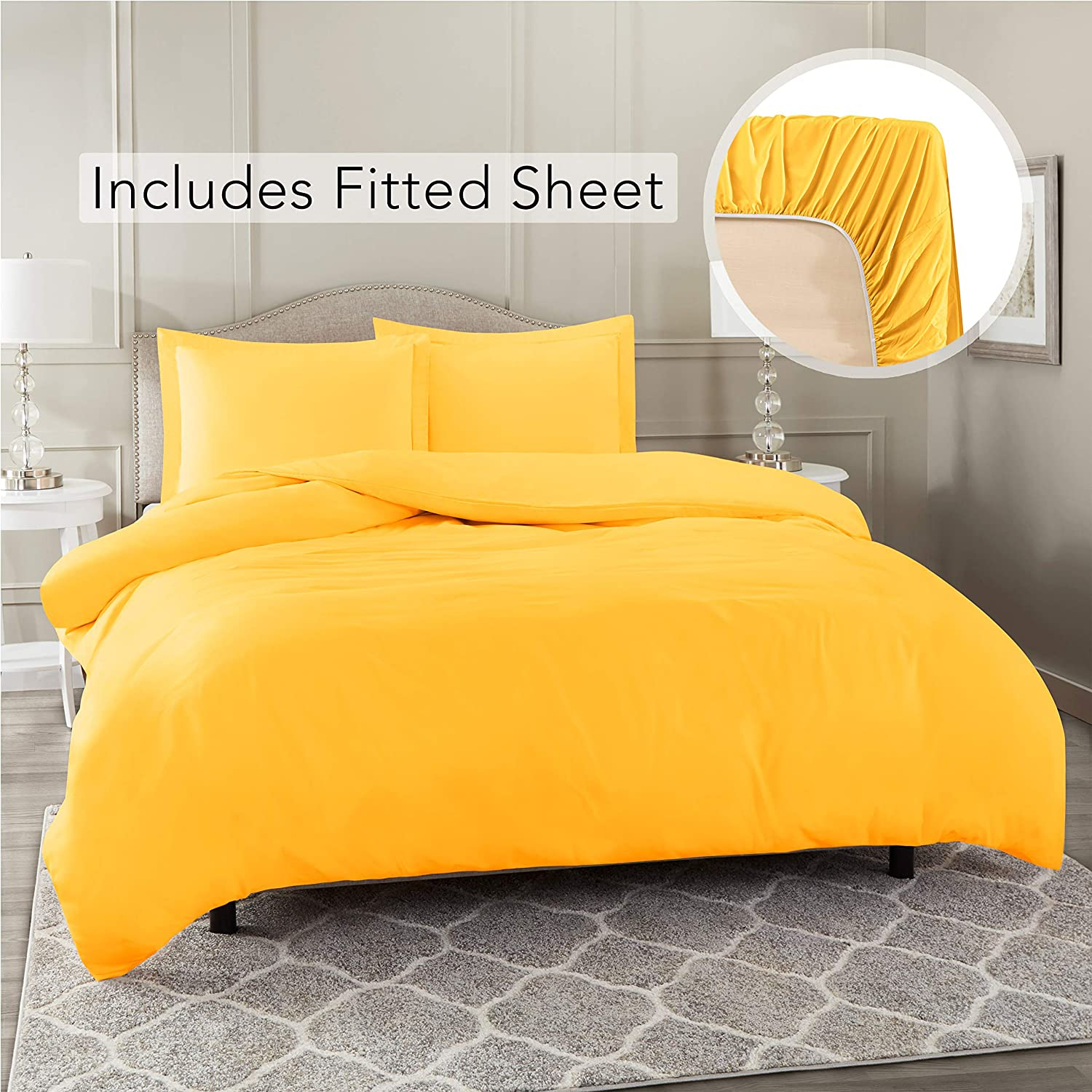 Nestl Bedding Duvet Cover with Fitted Sheet 5 Piece Set - Soft Double Brushed Microfiber Hotel Collection - Comforter Cover with Button Closure, 2 Fitted Sheets, 2 Pillow Shams, Split King - Yellow
