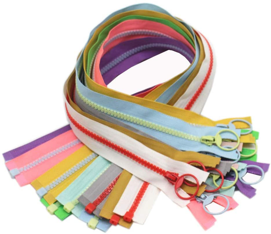 YaHoGa 10pcs 20 Inch Separating Jacket Zippers for Coat Jackets DIY Sewing Handbags Clothing Resin Zipper Plastic Zippers Bulk 10 Colors (20