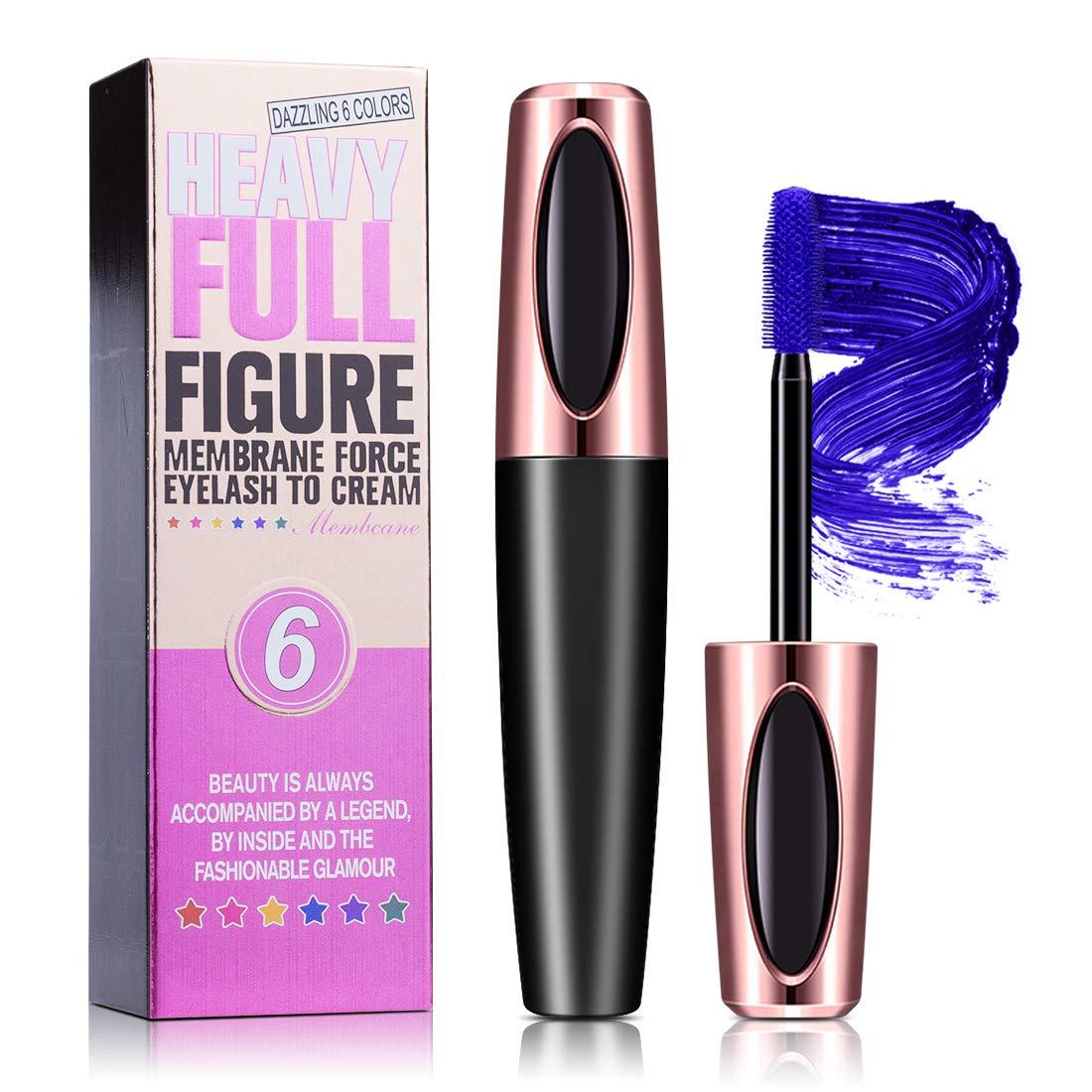 4D Silk Fiber Lash Mascara Colorful, Long Lasting, Thickening and Lengthening, Blue Eyelash Mascara, All Day Exquisitely, Natural & Non-Toxic (Blue)