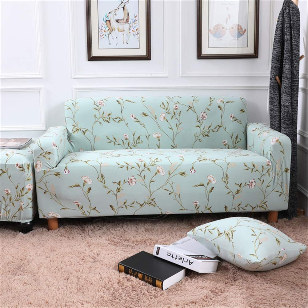 nordmiex Stretch Sofa Slipcovers Fitted Furniture Protector Printed Sofa Cover Stylish Fabric Couch Cover with 2 Pillowcases for 4 Cushion Couch (4 Seater Sofa,Light Green)