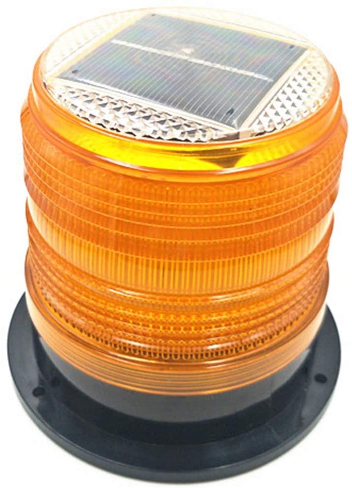 RISOON Solar Strobe Warning Light with Strong Magnetic Base Waterproof Flash Warning Light Ceiling Strobe Light Traffic and Road Beacon Light, Indicator Light, Ceiling Alarm Light (Yellow)